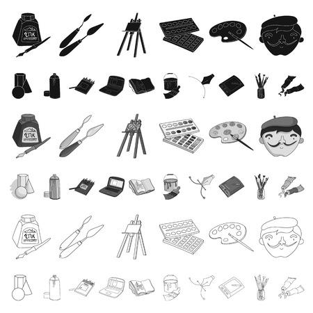 Pintor y dibujo de dibujos animados iconos de colección set de diseño. Ilustración de stock de símbolo de vector de accesorios artísticos.