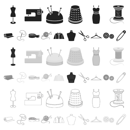 Atelier e cucito cartoon icone nella raccolta di set per il design. Attrezzature e strumenti per cucire illustrazione stock simbolo di vettore.