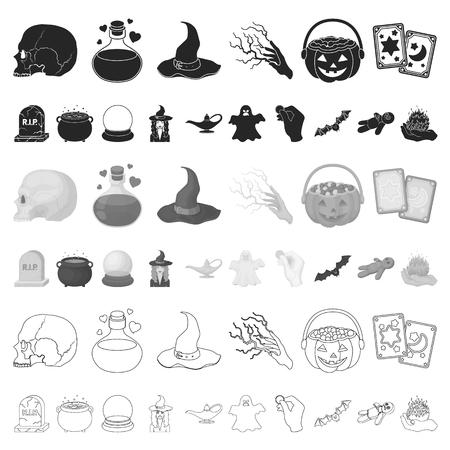 Karikatur- und weiße magische Karikaturikonen in der Satzsammlung für Design. Attribute und Zauberin Zubehör Vektor Symbol Lager Web-Illustration.