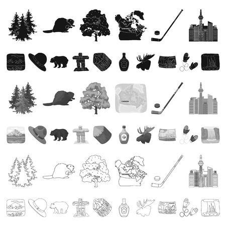 Country Canada cartoon icons in set collection for design. Canada and landmark vector symbol stock web illustration. Illustration