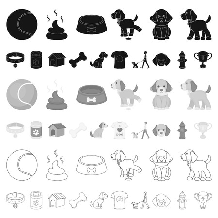 Pet dog cartoon icons in set collection for design. Caring for the puppy vector symbol stock web illustration.