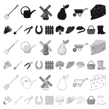 Farm and gardening cartoon icons in set collection for design. Farm and equipment vector symbol stock web illustration. Ilustração