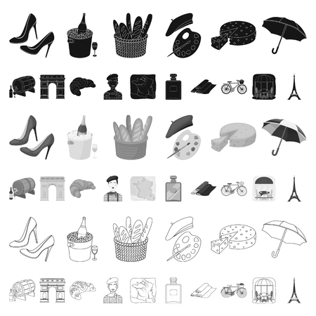 Country France cartoon icons in set collection for design. France and landmark vector symbol stock web illustration.