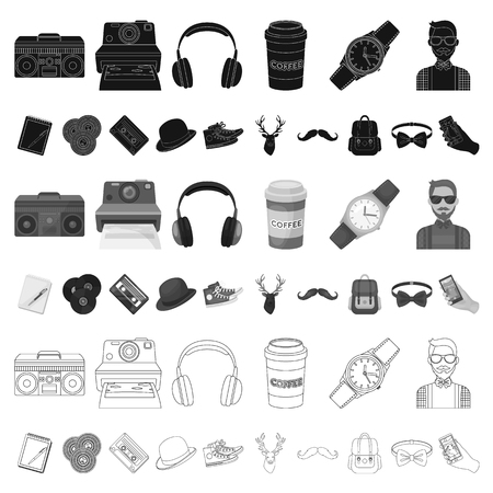 Style Hipster cartoon icons in set collection for design. Hipster Attributes and accessories vector symbol stock web illustration. Vektoros illusztráció