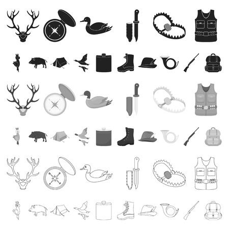 Hunting and trophy cartoon icons in set collection for design. Hunting and equipment vector symbol stock web illustration.