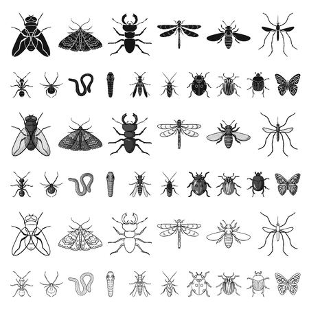 Different kinds of insects cartoon icons in set collection for design. Insect arthropod vector symbol stock web illustration. Stock Illustratie