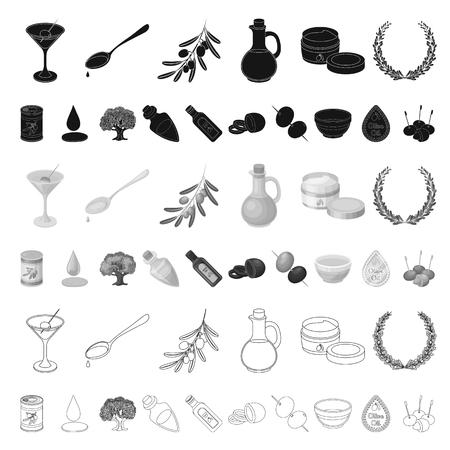 Olive, food cartoon icons in set collection for design. Olive oil, seasoning vector symbol stock web illustration. Illustration