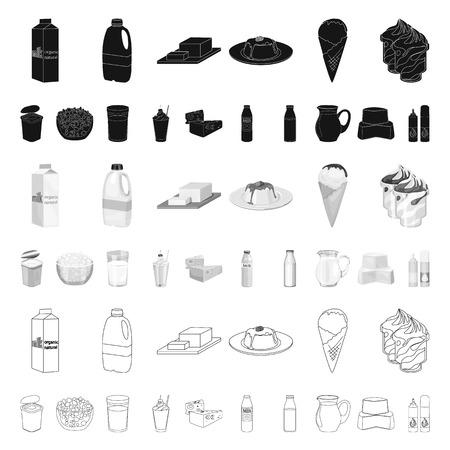 Iconos de dibujos animados de productos lácteos en conjunto para el diseño. Leche y alimentos vector símbolo stock web ilustración. Ilustración de vector