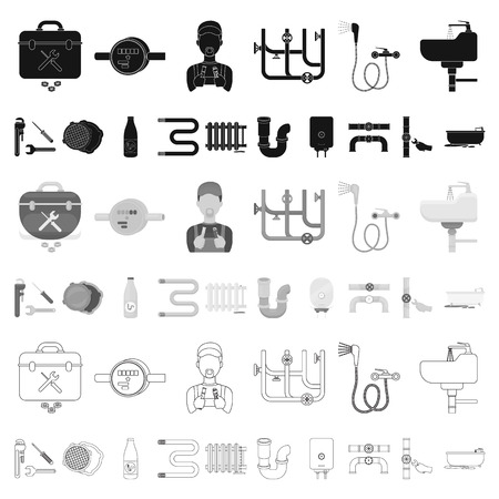 Plumbing, fitting cartoon icons in set collection for design. Equipment and tools vector symbol stock web illustration.