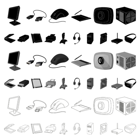 Personal computer cartoon icons in set collection for design. Equipment and accessories vector symbol stock web illustration. Фото со стока - 109288086
