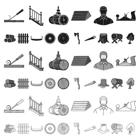 Icônes de dessin animé de scierie et de bois dans la collection de jeu pour la conception. Matériel et outils vector illustration web stock symbole.