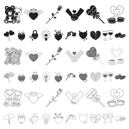 Romantic relationship cartoon icons in set collection for design. Love and friendship vector symbol stock web illustration.