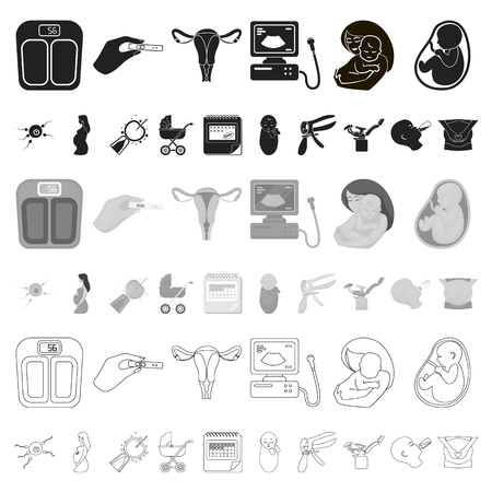 Woman and pregnancy cartoon icons in set collection for design. Gynecology and equipment vector symbol stock web illustration.