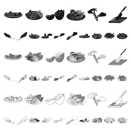 Cocinar los iconos de dibujos animados de alimentos de colección set de diseño. Cocina, equipo y herramientas vector ilustración de símbolo stock web. Ilustración de vector