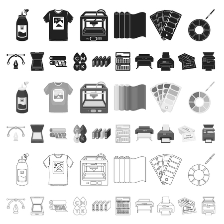 Typographical products cartoon icons in set collection for design. Printing and equipment vector symbol stock web illustration.