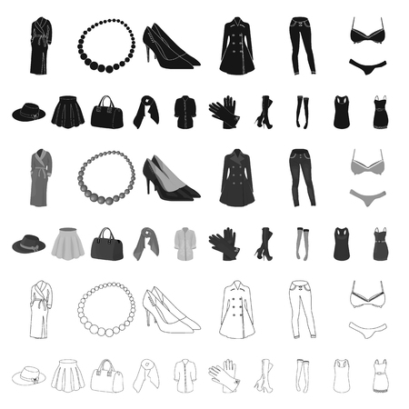 Women s Clothing cartoon icons in set collection for design.Clothing Varieties and Accessories vector symbol stock web illustration.