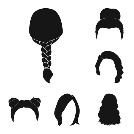 Female hairstyle black icons in set collection for design. Stylish haircut bitmap symbol stock  illustration.