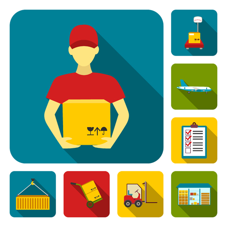 Logistics service flat icons in set collection for design. Logistics and equipment bitmap symbol stock  illustration.