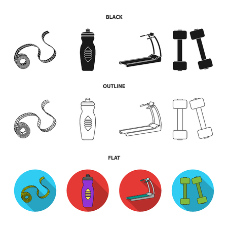 Measuring tape, water bottle, treadmill, dumbbells. Fitnes set collection icons in black,flat,outline style bitmap symbol stock illustration .