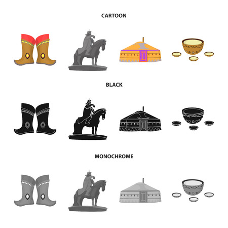 Military boots, a monument to the rider, a national tent, a milk drink. Mongolia set collection icons in cartoon,black,monochrome style bitmap symbol stock illustration .