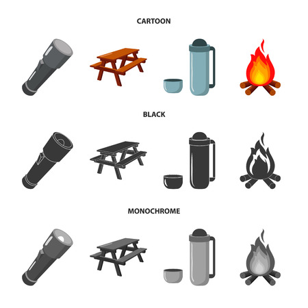 A flashlight, a table with a bench, a thermos with a cup, a caster. Camping set collection icons in cartoon,black,monochrome style bitmap symbol stock illustration . Stock Photo