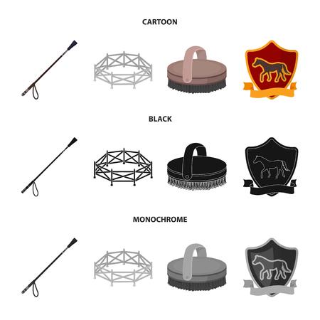 Aviary, whip, emblem, hippodrome .Hippodrome and horse set collection icons in cartoon,black,monochrome style bitmap symbol stock illustration .