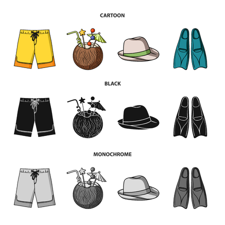Swimming trunks, cocktail with coconut, panama and flippers. Surfing set collection icons in cartoon,black,monochrome style bitmap symbol stock illustration . Standard-Bild