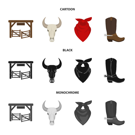 Gates, a bull skull, a scarf around his neck, boots with spurs. Rodeo set collection icons in cartoon,black,monochrome style bitmap symbol stock illustration .