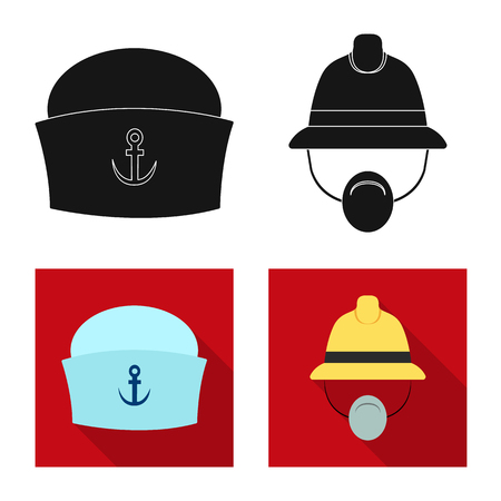 Vector design of headgear and cap sign. Set of headgear and accessory vector icon for stock.