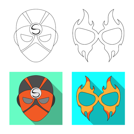 Vector illustration of hero and mask logo. Set of hero and superhero vector icon for stock.