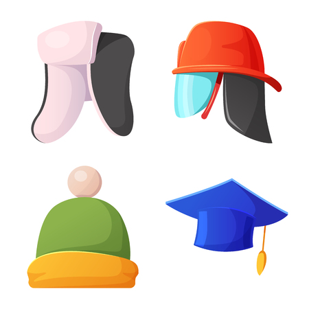 Isolated object of headgear and cap logo. Collection of headgear and accessory stock symbol for web.
