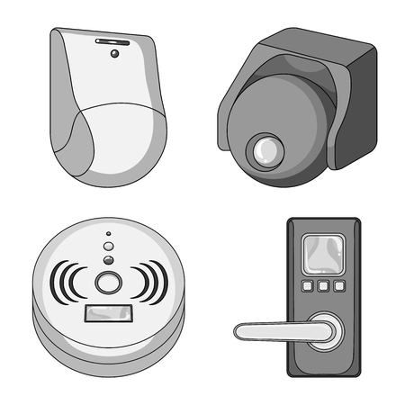 Isolated object of cctv and camera symbol. Set of cctv and system stock vector illustration. Stock Illustratie