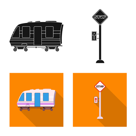 Isolated object of train and station logo. Collection of train and ticket stock symbol for web.  イラスト・ベクター素材
