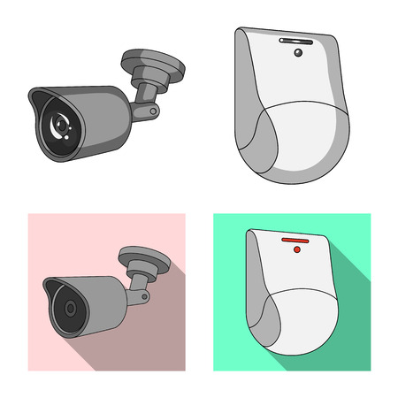 Vector illustration of cctv and camera sign. Collection of cctv and system stock vector illustration. Stock Illustratie