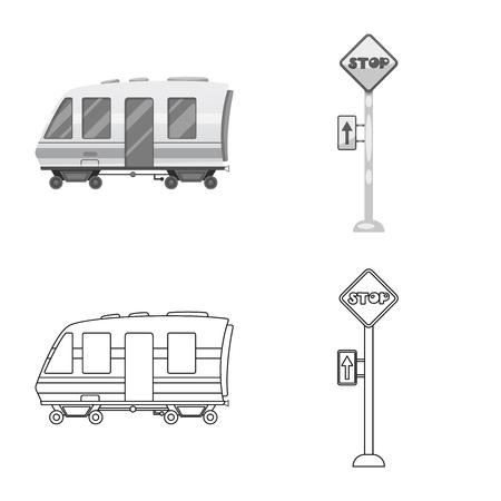 Vector illustration of train and station icon. Collection of train and ticket stock vector illustration.  イラスト・ベクター素材