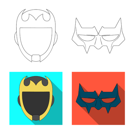 Vector illustration of hero and mask logo. Collection of hero and superhero stock symbol for web. Illustration
