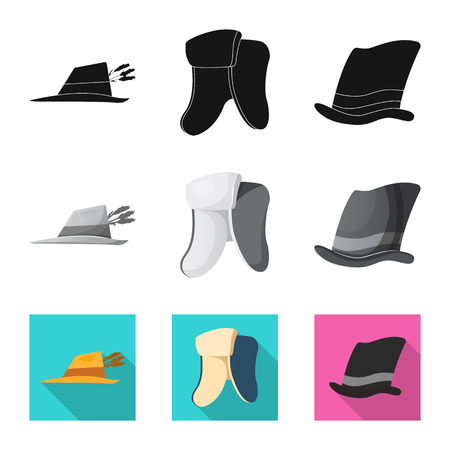 Vector illustration of headgear and cap logo. Collection of headgear and accessory stock symbol for web.