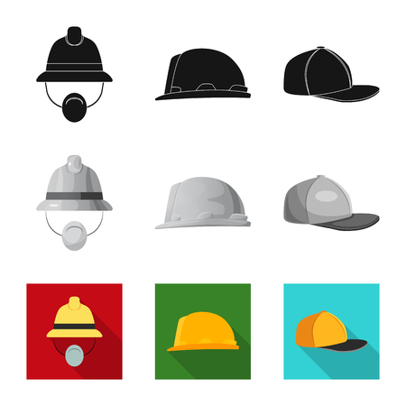 Vector design of headgear and cap symbol. Collection of headgear and accessory stock vector illustration. Ilustrace