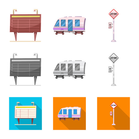 Vector illustration of train and station logo. Collection of train and ticket stock symbol for web.  イラスト・ベクター素材
