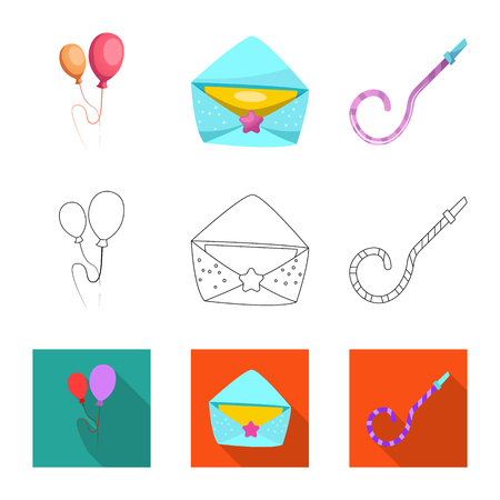 Vector illustration of party and birthday sign. Collection of party and celebration vector icon for stock.