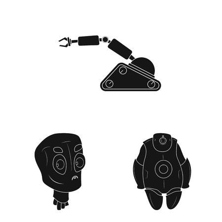 Vector illustration of robot and factory sign. Collection of robot and space vector icon for stock. Ilustrace