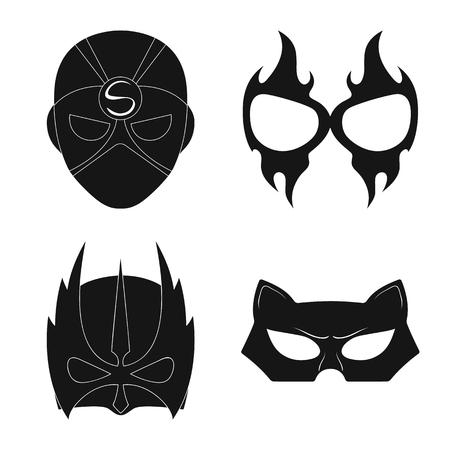 Vector illustration of hero and mask logo. Set of hero and superhero stock vector illustration.