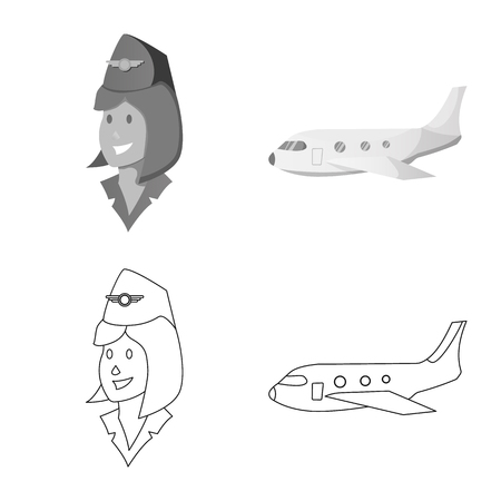 Vector illustration of airport and airplane symbol. Collection of airport and plane vector icon for stock. Vettoriali