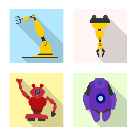 Vector illustration of robot and factory icon. Collection of robot and space stock vector illustration. Ilustrace
