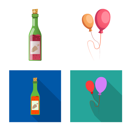 Vector design of party and birthday logo. Collection of party and celebration vector icon for stock. Illustration