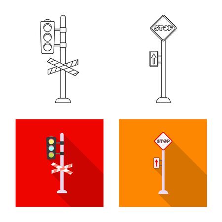 駅と駅の標識の孤立した物体。ストック用の列車とチケットベクトルアイコンのセット。