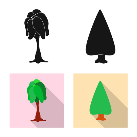 Isolated object of tree and nature logo. Set of tree and crown vector icon for stock.