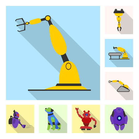 Vector illustration of robot and factory logo. Collection of robot and space vector icon for stock.