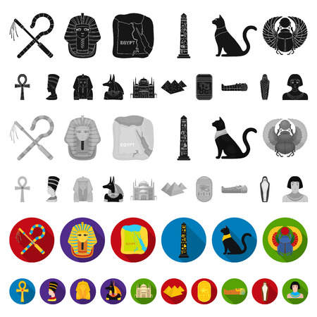 Ancient Egypt flat icons in set collection for design. The reign of Pharaoh vector symbol stock  illustration.  イラスト・ベクター素材