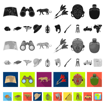 African Safari flat icons in set collection for design. Trophies and equipment for Safari vector symbol stock web illustration.